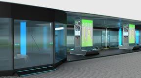 Интерьер современного космоса останавливая комплекса для общественного транспорта Идея проекта иллюстрация 3d Стоковая Фотография RF