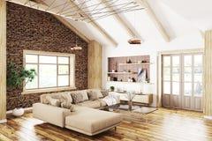 Интерьер современного перевода живущей комнаты 3d Стоковые Изображения