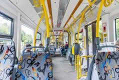 Интерьер современного трамвая в Москве стоковое изображение rf