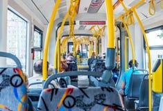 Интерьер современного трамвая в Москве стоковая фотография