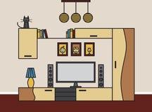 Интерьер современной живущей комнаты в линии стиле искусства Стоковая Фотография RF