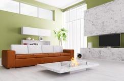 Интерьер современной живущей комнаты Стоковая Фотография