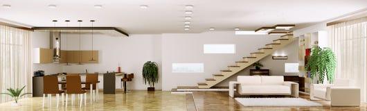 Интерьер современной панорамы 3d квартиры представляет Стоковые Изображения