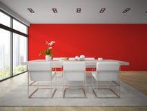 Интерьер современной столовой с красным переводом стены 3D Стоковые Изображения
