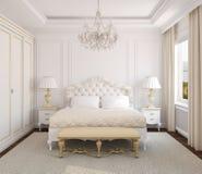 интерьер спальни классицистический Стоковое фото RF
