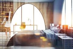 Интерьер спальни хозяев и тонизированная древесина домашнего офиса Стоковые Изображения