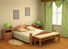 интерьер спальни 3d Стоковое Фото