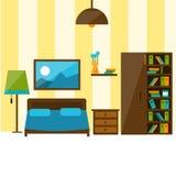 Интерьер спальни в плоской иллюстрации стиля Стоковые Изображения