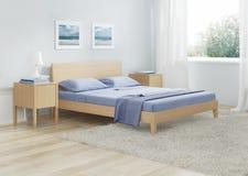 Интерьер спальни в холодных тонах Стоковое фото RF