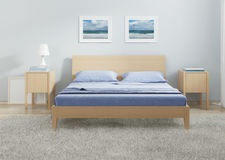 Интерьер спальни в холодных тонах Стоковые Фото