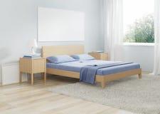 Интерьер спальни в холодных тонах Стоковое Изображение RF