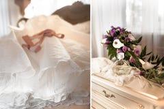 Интерьер спальни в цвете светлой сливк Стоковые Изображения RF