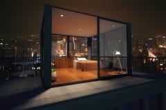 Интерьер спальни просторной квартиры Иллюстрация вектора