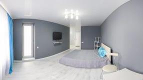 Интерьер спальни серый тон Стоковая Фотография RF