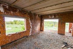 Интерьер старого здания под конструкцией Оранжевый кирпич wal Стоковые Фото