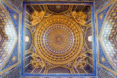 Интерьер старого Tillya Kary Madrassah в Самарканде Стоковое Изображение RF
