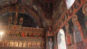 Интерьер старой православной церков церков сток-видео