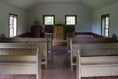 Интерьер старой церков в верхней деревне Канады, Онтарио стоковые изображения rf
