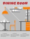 Интерьер столовой в плоском формате Стоковое Изображение