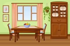 Интерьер столовой с таблицей и кухонным шкафом также вектор иллюстрации притяжки corel