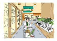 Интерьер супермаркета с девушкой покупателя Гастроном, рука нарисованная красочная иллюстрация Стоковое Изображение RF