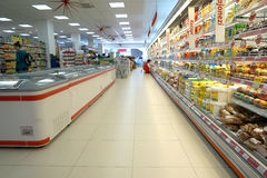 Интерьер супермаркета Стоковое Фото