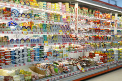 Интерьер супермаркета Стоковая Фотография