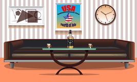 Интерьер США стильный комнаты Плакаты искусства на стене 4-ое июля соединенные положения независимости дня Национальный праздник  Стоковые Изображения