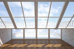 Интерьер с балконом Иллюстрация штока