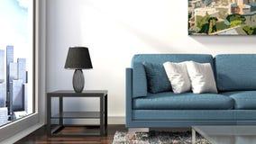 Интерьер с голубой софой иллюстрация 3d Стоковые Фотографии RF