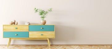 Интерьер с деревянным переводом sideboard 3d Стоковые Изображения RF