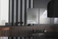 Интерьер с изображениями лошадей на monochrome стене Стоковые Фото
