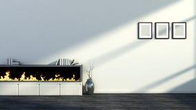 Интерьер с камином, вазой и пустыми изображениями Стоковая Фотография