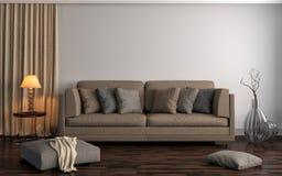 Интерьер с коричневой софой иллюстрация 3d Стоковое Изображение