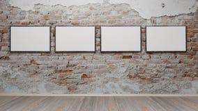 Интерьер с пустыми картинными рамками 3d представляет Стоковое фото RF