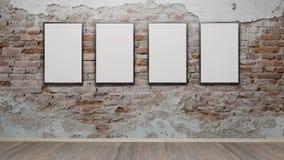 Интерьер с пустыми картинными рамками 3d представляет Стоковая Фотография RF