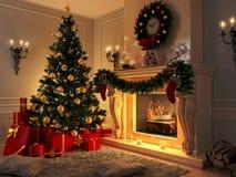 Интерьер с рождественской елкой, настоящими моментами и камином открытка Стоковое Изображение RF