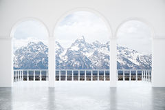 Интерьер с снежным Mountain View Иллюстрация штока