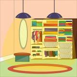 Интерьер уборной с мебелью и одеждами Стоковое Изображение