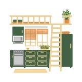 Интерьер уютной кухни изолированной на белой предпосылке Ультрамодное домашнее оформление с заводами в баках Иллюстрация вектора  иллюстрация штока