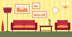 Интерьер цвета вектора комнаты шаржа живущей Стоковая Фотография