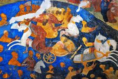 Интерьер церков с первоначально фресками XVII века Стоковое фото RF
