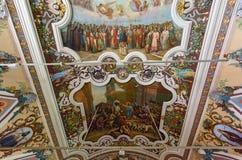 Интерьер церков церков Refectory St Sergius Sergiyev Posad, Россия Стоковое Изображение