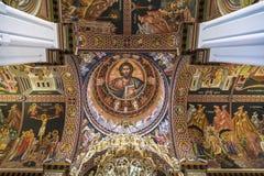 Интерьер церков St Катрина Синая - православной церков церков в ираклионе, потолка Крит Стоковое Фото
