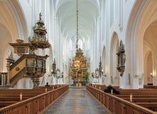 Интерьер церков St Peter (kyrka Sankt Petri) в Malmo, Швеции Стоковые Изображения