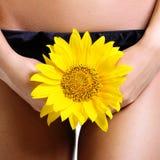 Интимная часть тела женщины спрятанного мимо Стоковая Фотография