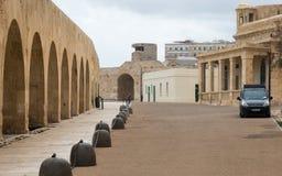 Интрамуральный взгляд на форте St Elmo Валлетта, Мальта, Европа стоковая фотография