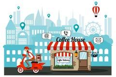 Инфографика Доставка кофе к офису курьером Заказ, приобретение через интернет бесплатная иллюстрация