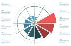 Инфографика Стандартная долевая диограмма, диаграмма, диаграмма, варианты, части, процессы с стрелками Стоковые Фото