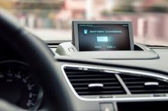 Информация на дисплее электрического автомобиля Стоковое фото RF